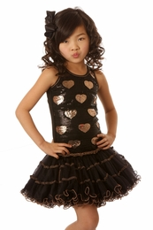 Ooh La La Couture Black & Rose Gold Hearts Sequin Wiretrim Tank Poufier Dress
