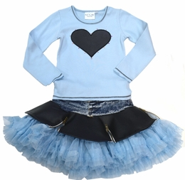 Ooh La La Couture Blue Denim Precious Pleather Skirt Set *PREORDER*