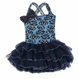 Ooh La La Couture Blue Floral Dress with Big Shoulder Bow *PREORDER*<br>Sizes 4 - 14