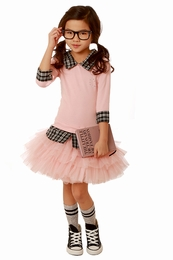 Ooh La La Couture Blush & Black Funky Schoolgirl Collar Dress
