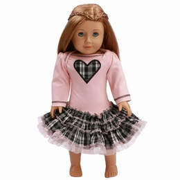 Ooh La La Couture Blush & Plaid Heart Doll Dress