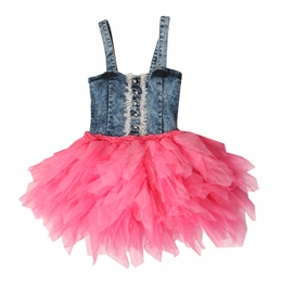 Ooh La La Couture Candy Pink Denim Bodice Dress<br>Sizes 3T - 5