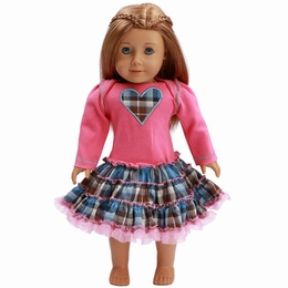 Ooh La La Couture Candy Pink & Plaid Doll Dress *PREORDER*
