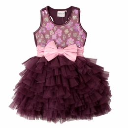 "Ooh La La Couture Fabulous Wow ""Dream"" Plum Sequin Dress w/Soft Pink Bow *FINAL SALE*"