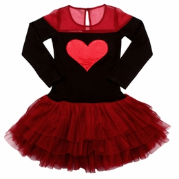 Ooh La La Couture Holiday Red & Black Tulle Shoulder Heart Dress *PREORDER*