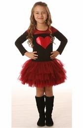 Ooh La La Couture Holiday Red & Black Tulle Shoulder Heart Dress