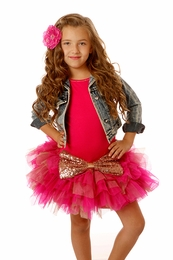Ooh La La Couture Hot Pink Drop Waist Crazy Sparkle Bow Dress<br>Sizes 2T - 5