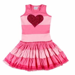 Ooh La La Couture Hot Pink Heart Striped Twirly Dress