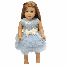 "Ooh La La Couture Light Blue & Champagne Doll Dress<br>Fits 18"" Doll"