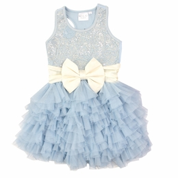 Ooh La La Couture Light Blue Embroidered Wow Dress with Champagne Bow<br>Sizes 2T - 6X/7