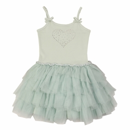 Ooh La La Couture Mint Swarovski Crystal Heart Dress<br>Sizes 4 - 10  ***GOING FAST!