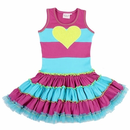 Ooh La La Couture Neon Green Heart Striped Twirly Dress
