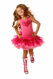 Ooh La La Couture Pink Embroidered Tulle Heart Poufier Tank Dress<br>Sizes 2T - 4