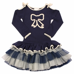 Ooh La La Couture Precious Navy Bow Peplum Dress *PREORDER*