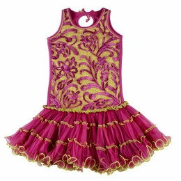 Ooh La La Couture Radiant Orchid & Green Wiretrim Tank Pouffier Dress