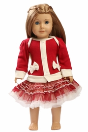 Ooh La La Couture Red Ho Ho Ho Cardigan Doll Dress