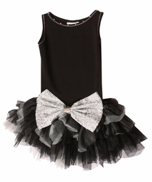 Ooh La La Couture Black Drop Waisted Crazy Silver Sparkle Bow Dress<br>Sizes 12 & 14