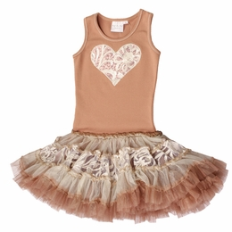 Ooh La La Couture Rose Gold & Champagne Embroidered Tulle Heart Poufier Tank Dress*<br>Sizes 5 & 6