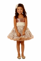 "Ooh La La Couture Rose Gold Embroidered ""WoW"" Pouf Dress<br>Sizes 4 & 5"