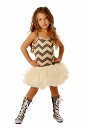 Ooh La La Couture Silver Champagne Chevron Ruffle Tutu Dress<br>Sizes 4 - 14