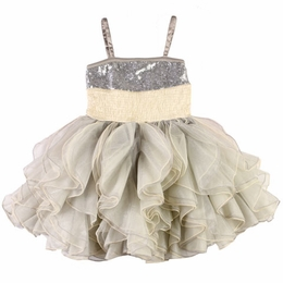 Ooh La La Couture Silver & Champagne Stunning Shimmy Dress
