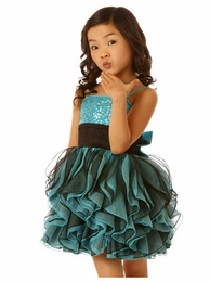Ooh La La Couture Stunning Aqua & Black Shimmy Dress SOLD OUT!