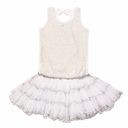 Ooh La La Couture White Silver Embroidered Tulle Poufier Dress