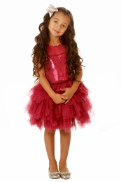 Ooh La La Couture Pink Wine Tulle Necklace Sequin Dress