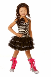 Ooh La La Couture Zebra Dress w/Stunning Shoulder Bow & Zwarovski Crystals