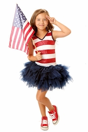 Ooh La La Patriotic Red White and Fabulous Tutu Dress with Sequin Stripes *PREORDER*