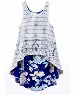 Over the Top Mixed Media Hi-Low Breezy Top *FINAL SALE* SIZE 16