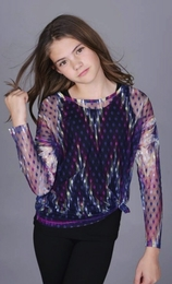 Over the Top Sheer Polka Dot Tunic w/Ikat Sublimation *PREORDER*