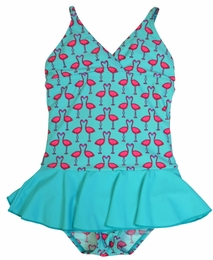 Penny Candy by DownEast Girls Blue Flamingo Kitt One Piece Swimsuit
