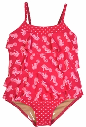 Penny Candy by DownEast Girls Fuscia Seahorse Two Piece Tankini Rhumba Swimsuit