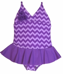 Penny Candy by DownEast Girls Purple Chevron Skirted Swimsuit