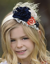 "Persnickety ""Alpine Daisy"" Blue & Orange Magnolia Headband"