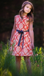 "Persnickety ""Alpine Daisy"" Orange Damask Ella Dress"