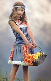 "Persnickety ""Alpine Daisy"" Orange & Navy Shirley Skirt"