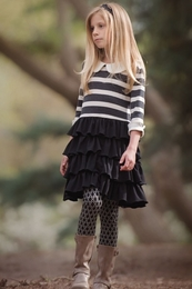 "Persnickety ""Autumn Splendor"" Black Striped Knit Macie Jane Dress"