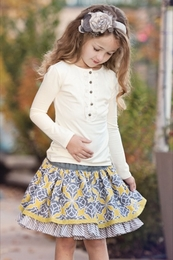 "Persnickety ""October Sky"" Grey Lily Skirt"