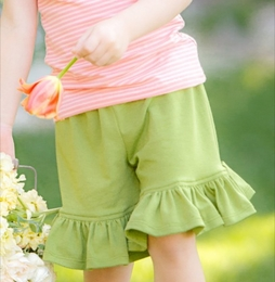 "Persnickety ""Bo Peep"" Green Knit Mae Ruffle Short<br>Sizes 4-12"