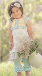 "Persnickety ""Bo Peep"" Grey Dot Lou Lou Dress<br>Sizes 5 - 8"