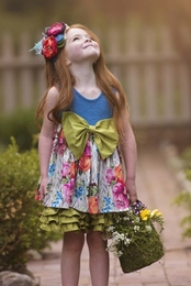 "Persnickety ""Forget Me Not"" Blue Rose Bow Dress/Tunic"