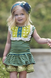 "Persnickety ""Forget Me Not"" Green & Blue Stripe Classic Lou Lou Peplum Top"