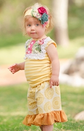 "Persnickety ""Garden Party"" Yellow Stripe & Floral Lou Lou Top<br>Sizes 4-12"
