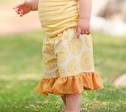 "Persnickety ""Garden Party"" Yellow Mae Short"