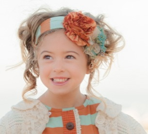 Persnickety Mossy Woods Blue Stripe Toffee Headband<br>Sold Out! - click to enlarge