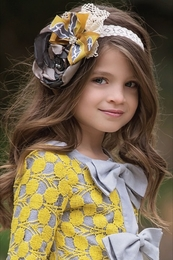 "Persnickety ""October Sky"" Stunning Yellow Lyla Headband"