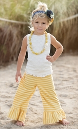 "Persnickety ""Garden Party"" Beautiful Yellow Striped Bell Pants"