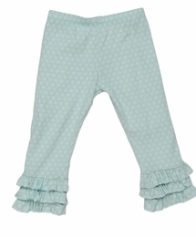 "Persnickety ""Sail Away/Bo Peep"" Blue Dot Triple Ruffle Legging<br>Sizes 2-8"